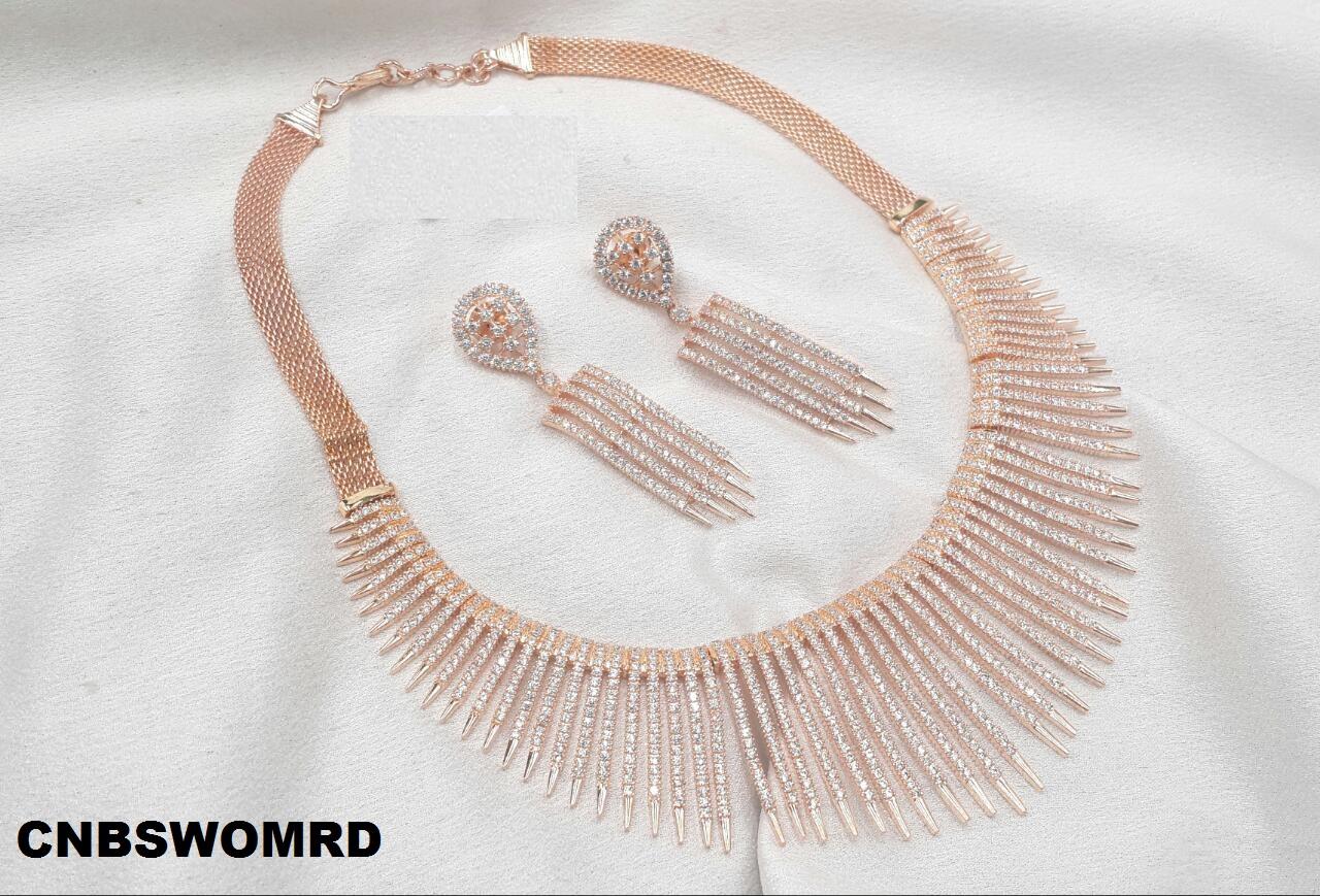 11610a749 CZ Luxurious Emerald Rose Gold Bridal Necklace Set Manufacturer Wholesaler  In India