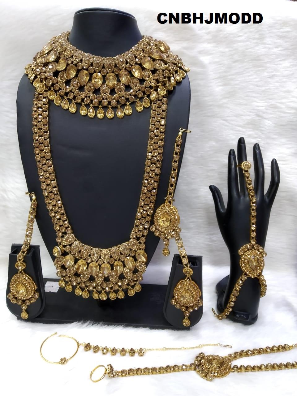 Fashion Kundan Indian Wedding Jewelry Set Bollywood Gold Necklace Set Bridesmaid