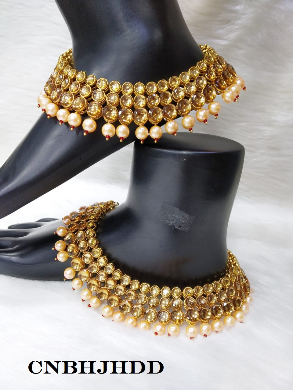 Fashion Jewelry Indian Ethnic Bollywood Antique Lct Gold Tone Payal Pearl Anklet Wedding Jewelry