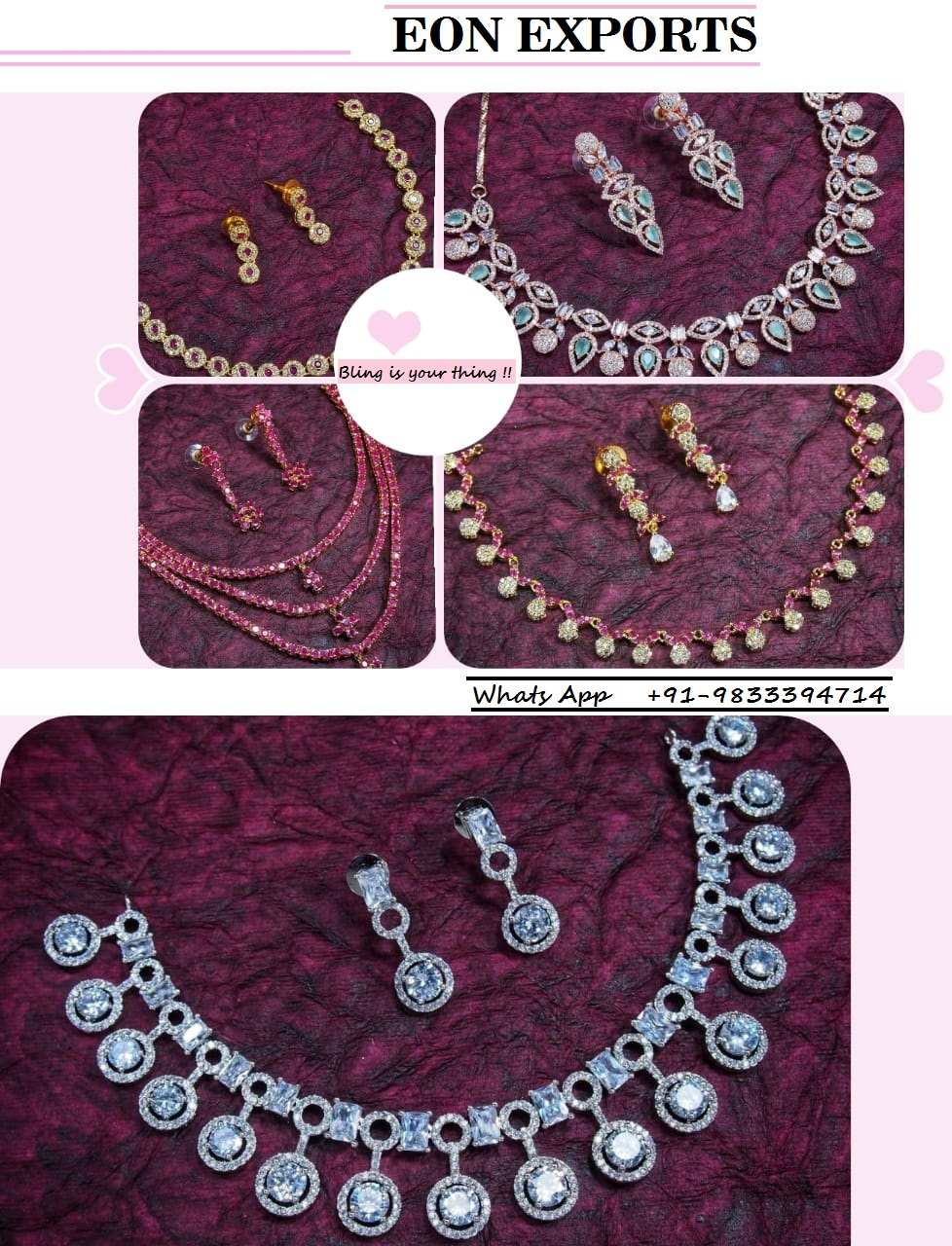 Indian jewelry beautiful bridal party bollywood necklace set Mala set high quality statement American Diamonds Cubic zirconia set